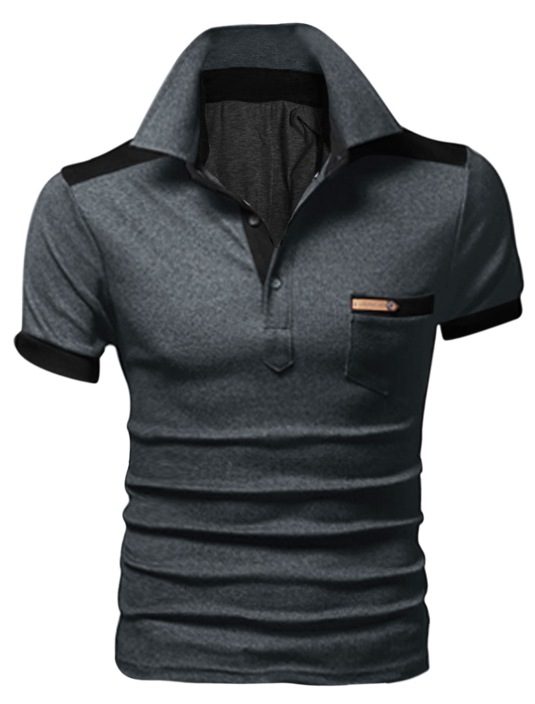 Man Chest Pocket Point Collar Short Sleeve Summer Fit Polo Shirt Dark Gray M