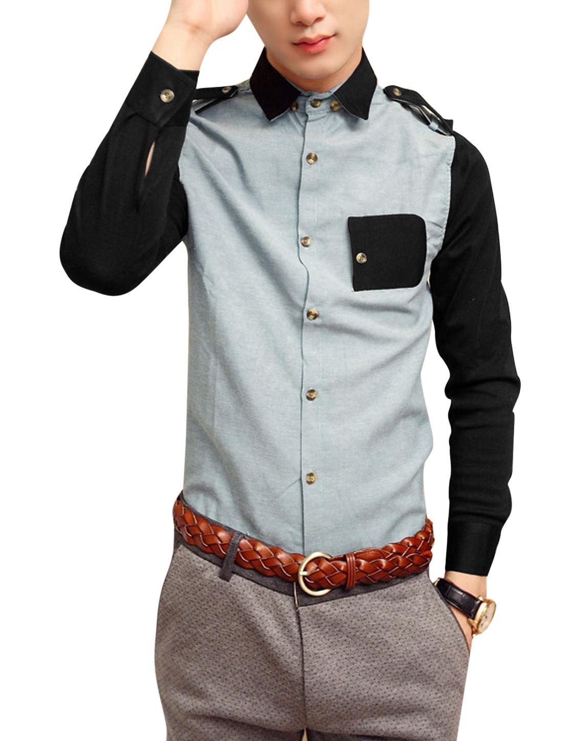 Men Long Sleeve Button Closure Epaulette Decor Shirt Light Gray M