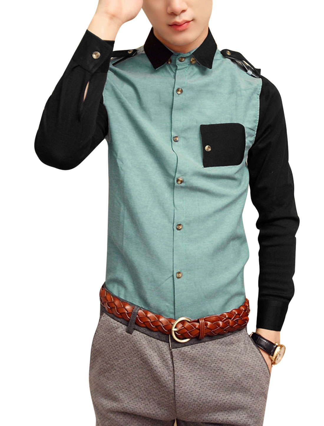 Men Point Collar Button-Front Epaulette Decor Shirt Sea Green M