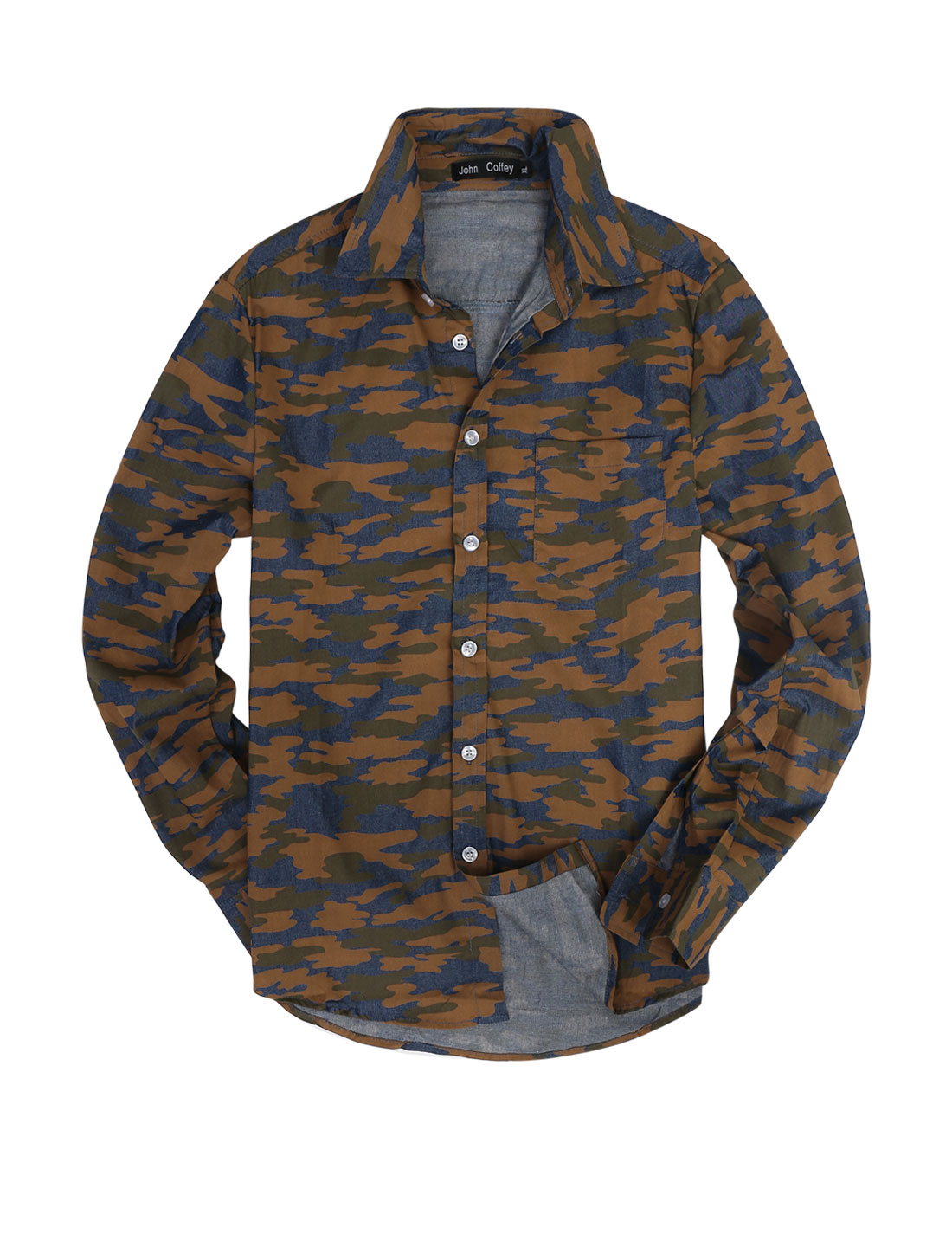 Men Stylish Long Sleeve Camouflage Pattern Denim Top Shirt Ochre M