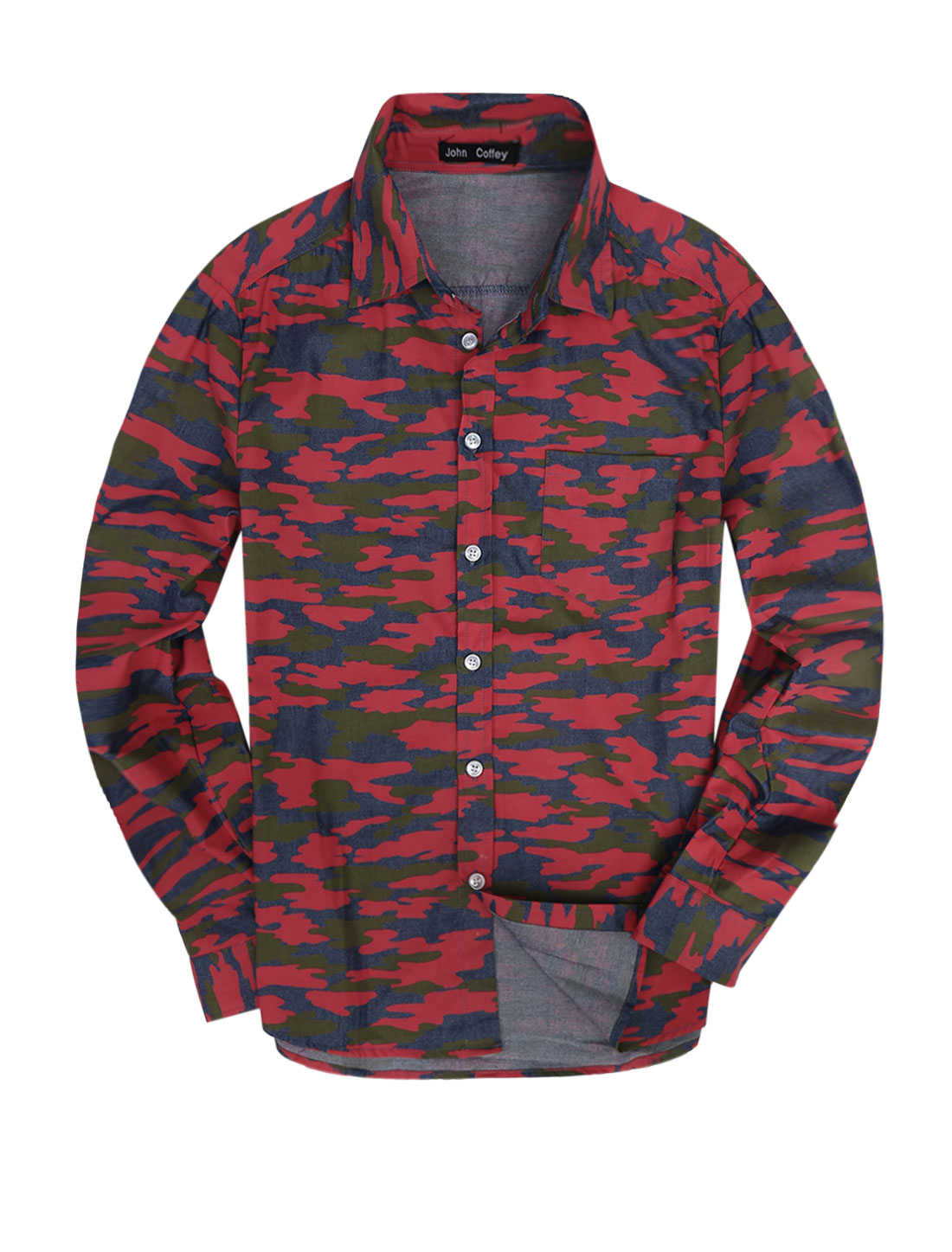Men Stylish Button Cuff Camouflage Pattern Denim Top Shirt Red M