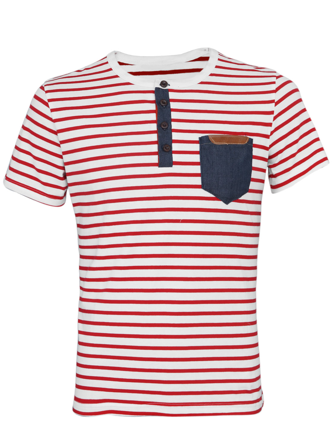 Men Cozy Fit Stripes 1/4 Placket Chest Pocket Tee Shirt Red White M
