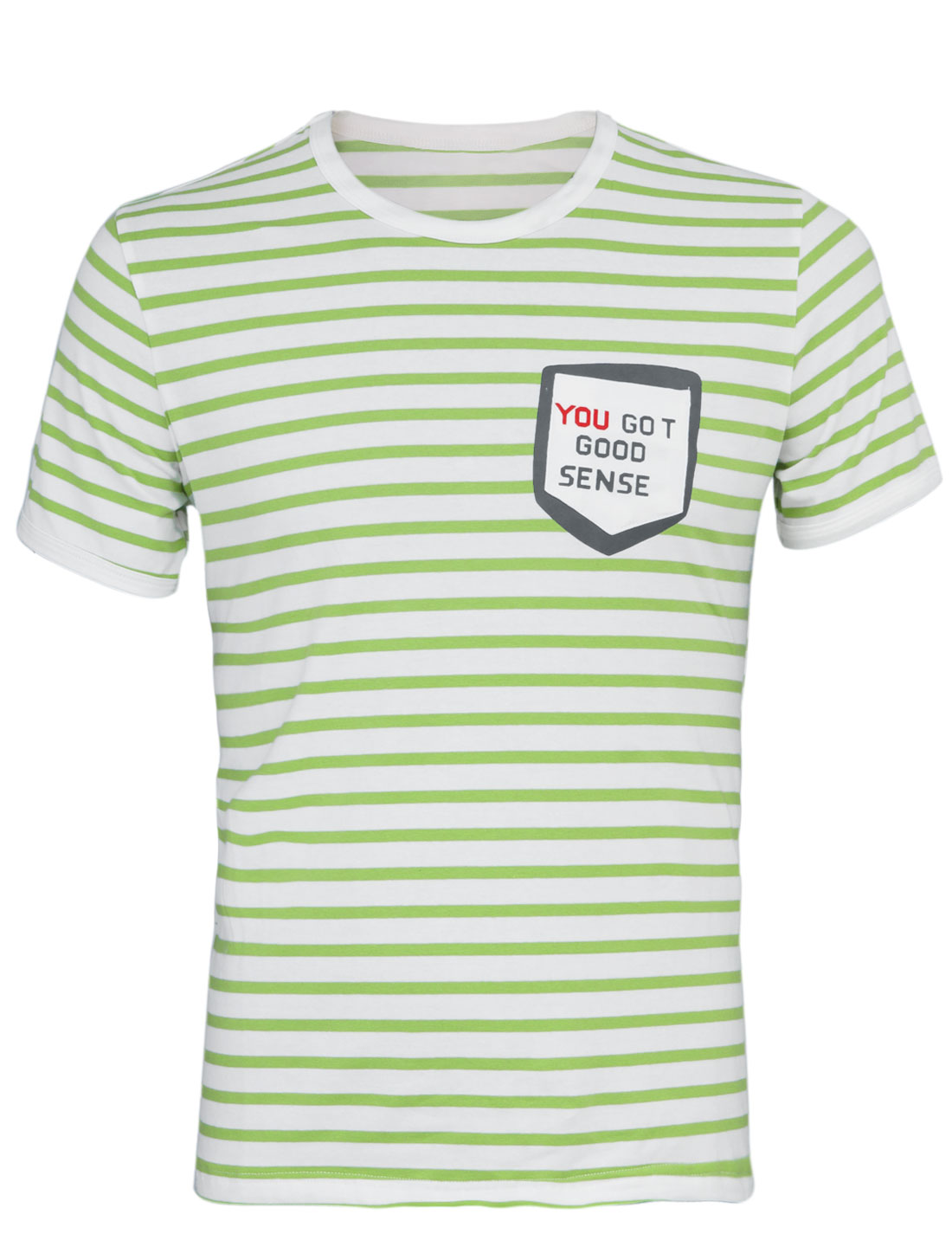 Men Slim Fit Stripes Pattern One Breast Pocket T-Shirt Green White M