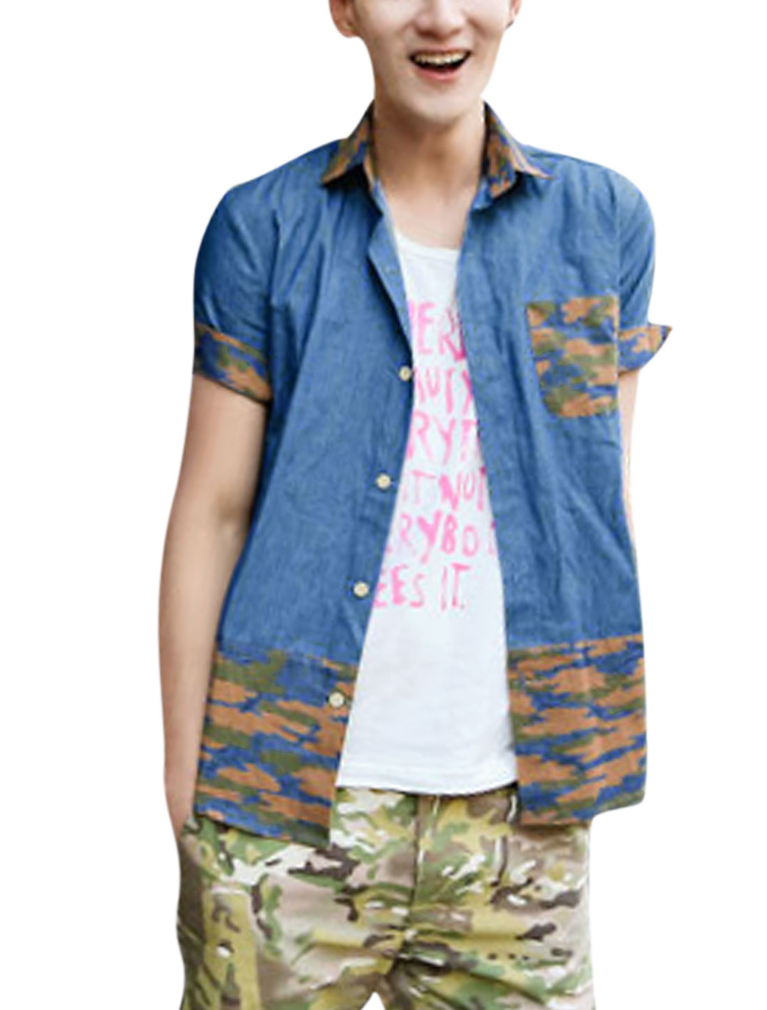 Men Chic Short Sleeve Camouflage Pattern Cuffed Denim Shirt Blue M