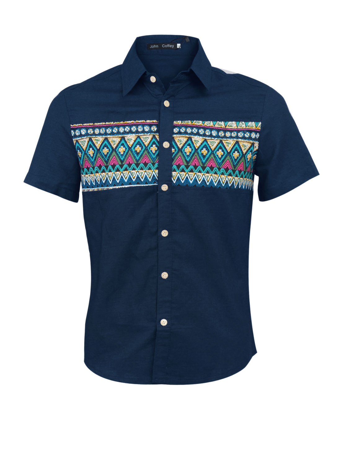 Men Fashion Point Collar Zigzag Argyle Pattern Linen Top Shirt Navy Blue M