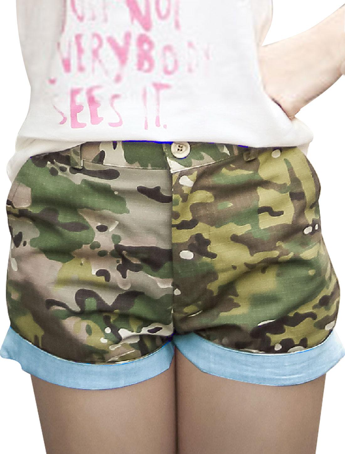 Women Belt Loop Zipper Closure Camouflage Prints Casual Shorts Multicolor XS