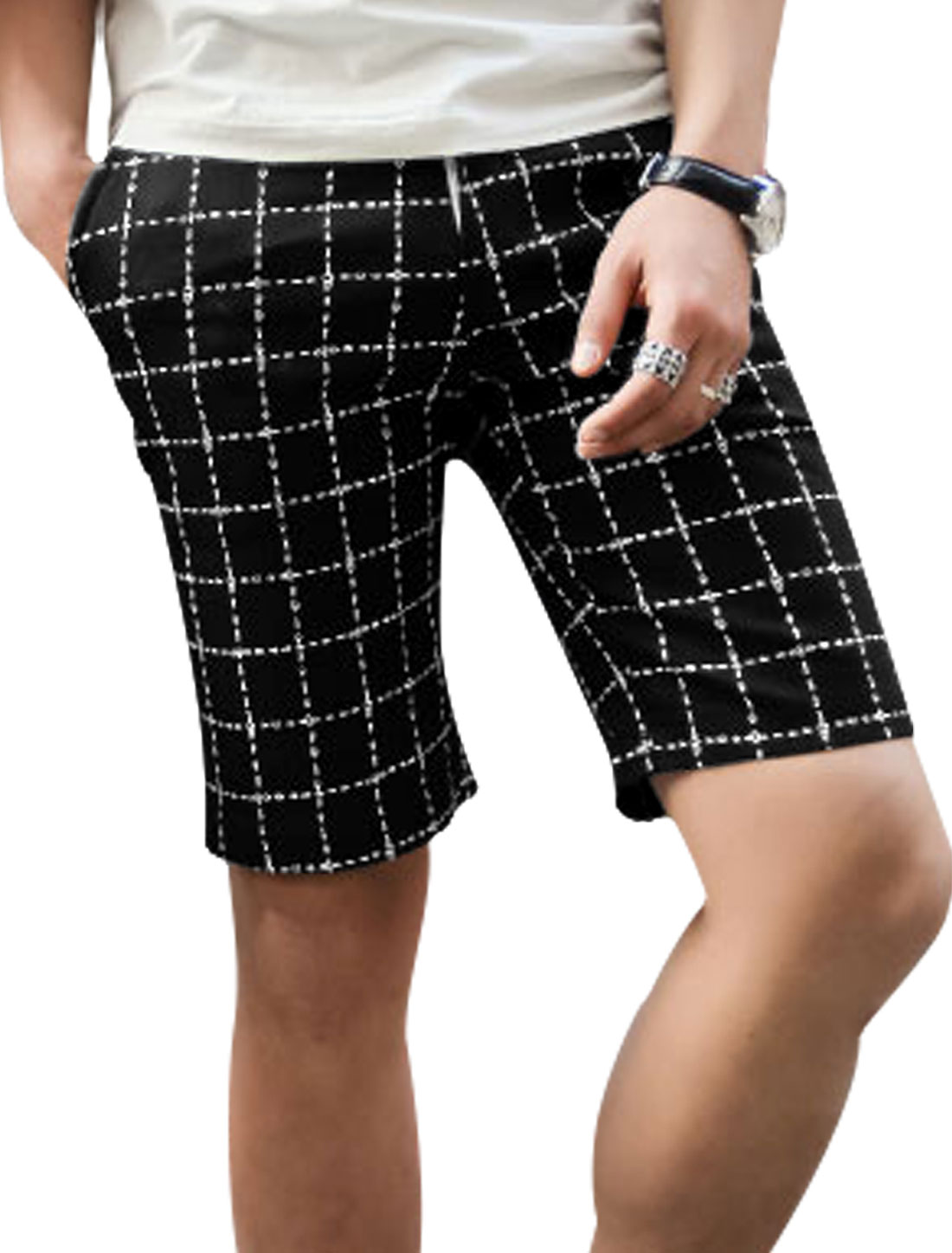 Men Belt Loop Zip Fly One Button Up Plaids Leisure Shorts Black W30