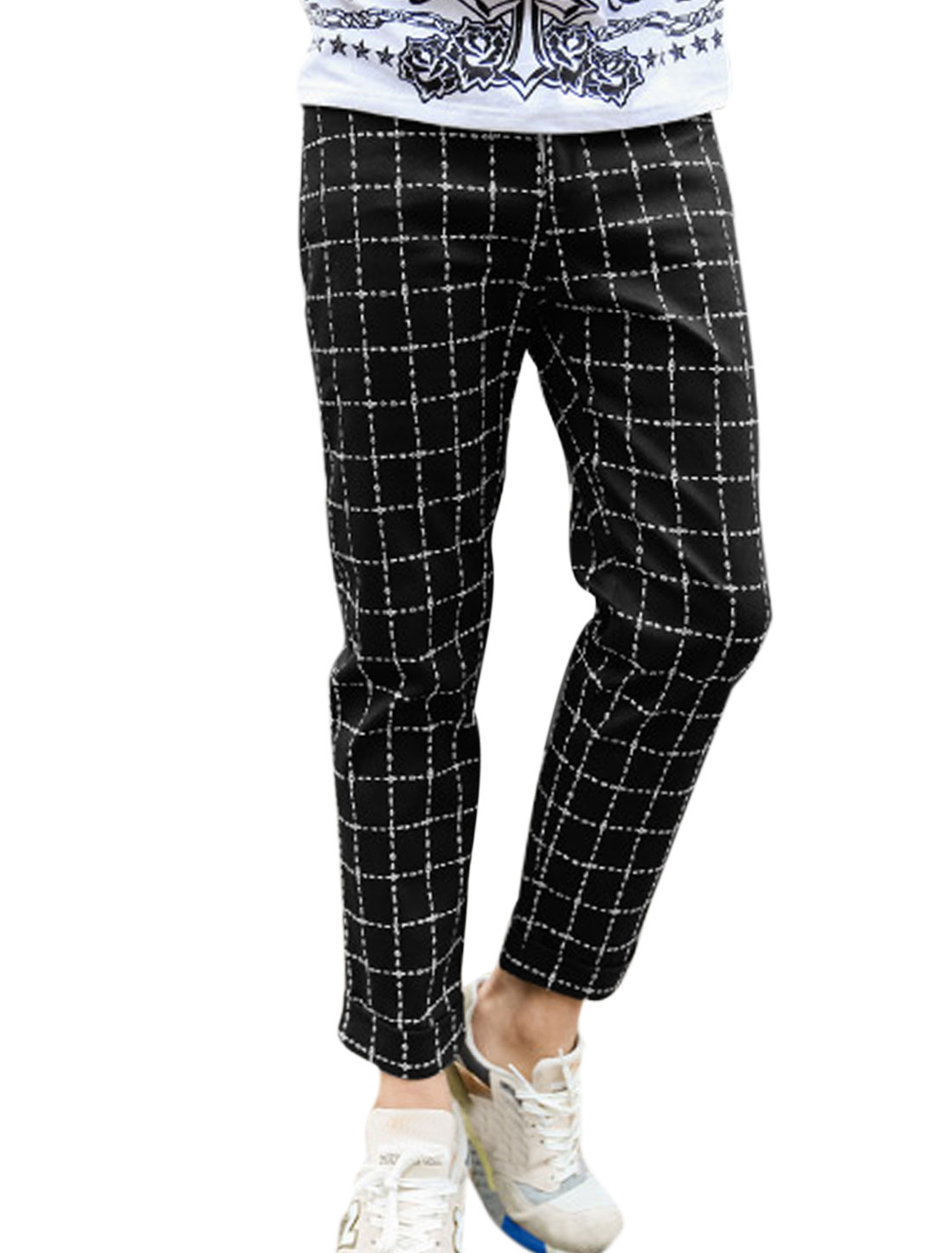 Men Belt Loop Zip Up Single Pocket Front Plaids Cropped Pants Black W32
