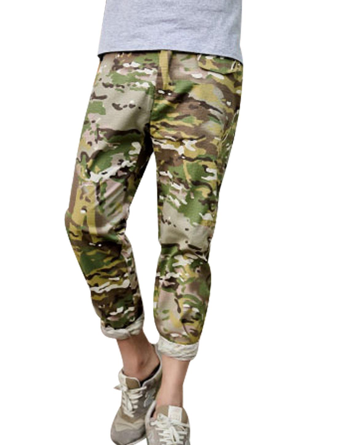 Men Belt Loop Zip Up Camouflage Prints Cropped Pants Multicolor W32