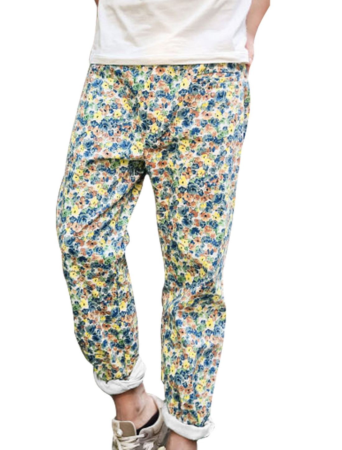 Men Belt Loop Zip Fly Floral Prints Cropped Pants Multicolor W32
