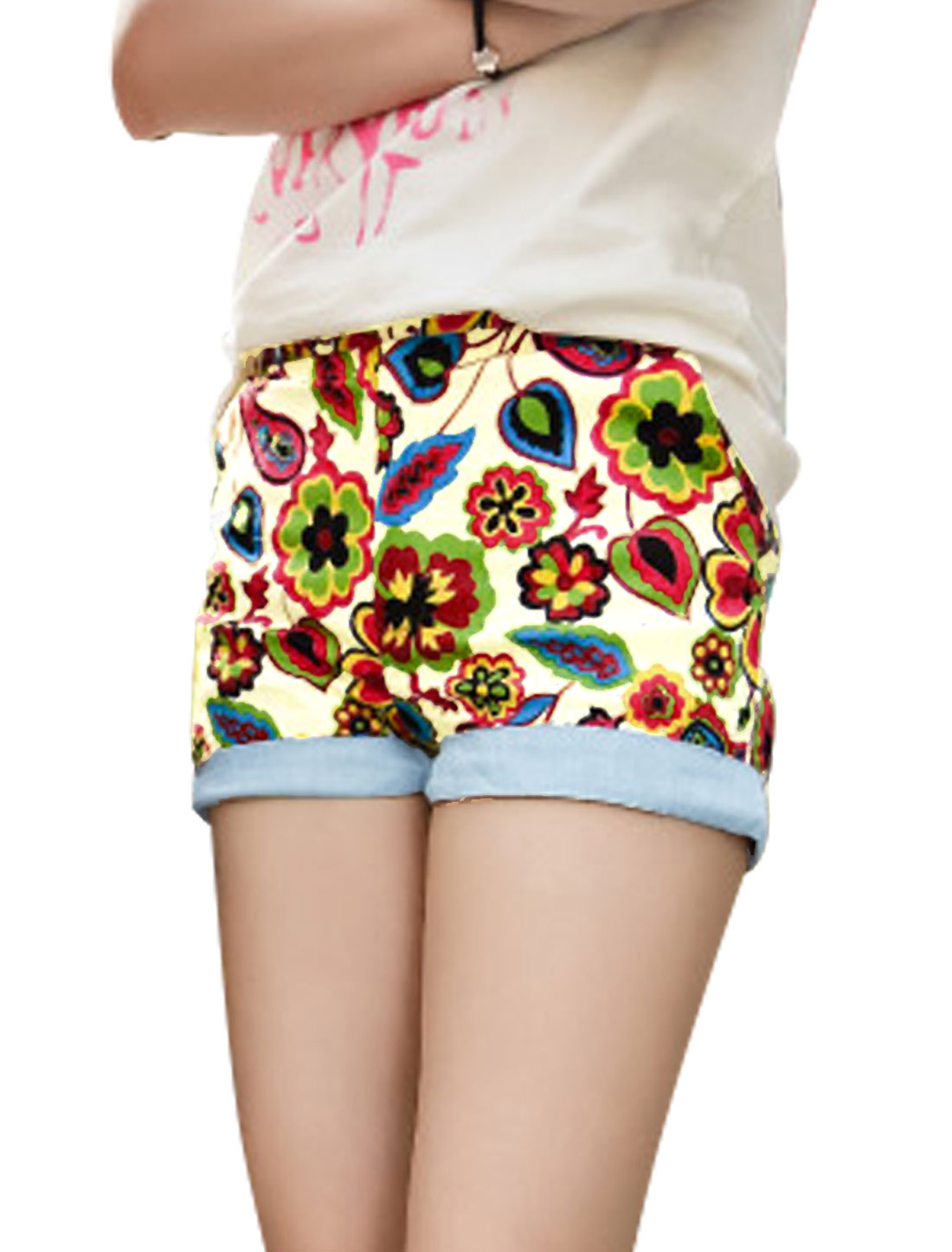 Women Belt Loop Zipper Closure Floral Prints Roll-Up Cuffs Shorts Multicolor S