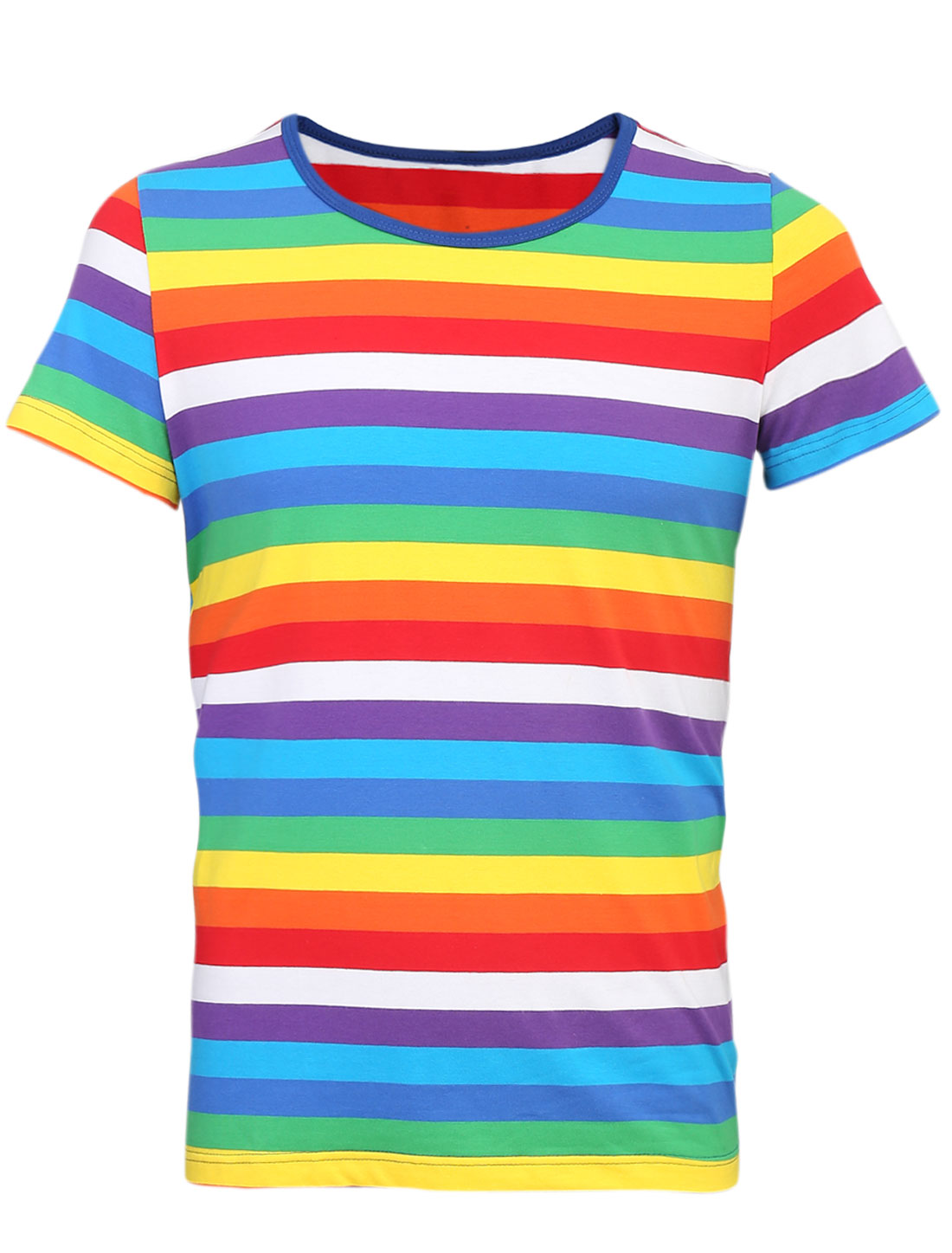 Men Personalized Short Sleeve Stripes Pullover Tee Multicolor M
