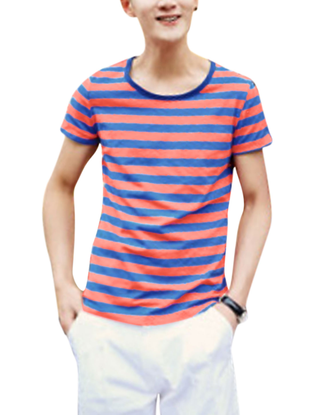 Men Slim Fit Two Tone Stripes Piped Detail Tee Top Blue Coral Pink M