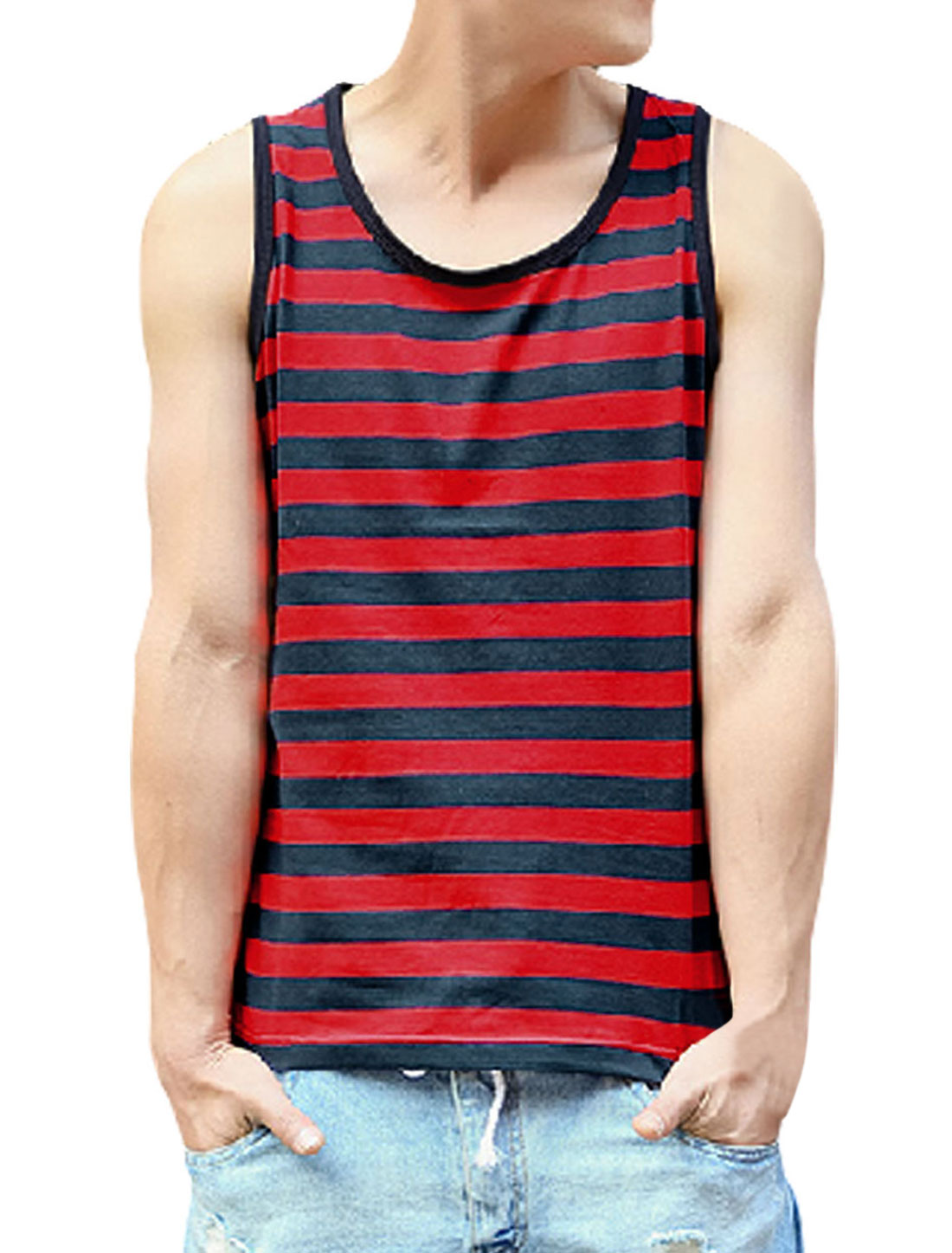 Men Cozy Fit Sleeveless Stripes Two Tone Tank Top Navy Blue Red M