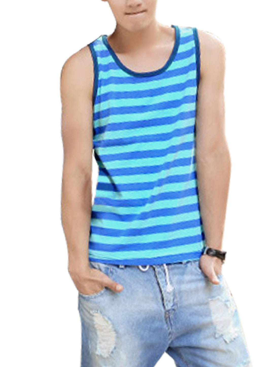Men Soft Sleeveless Stripes Piped Detail Tank Top Blue Light Blue M