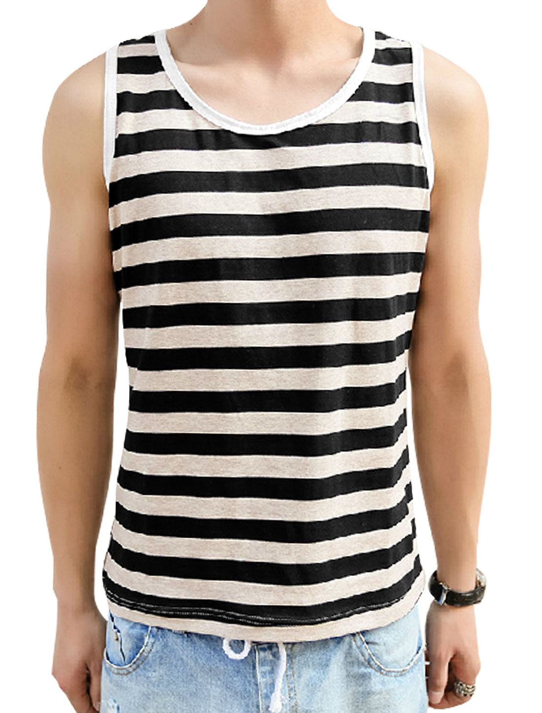 Men Soft Pullover Stripes Pattern Piped Detail Tank Top Black Khaki M