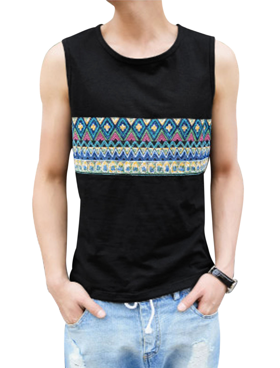 Men Fashion Sleeveless Panel Zigzag Pattern Tank Top Black M