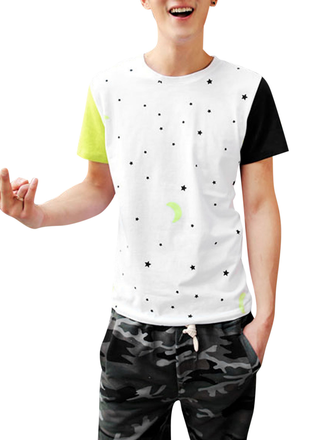 Men Chic Short Sleeve Stars Moon Pattern Panel T-Shirt White Lime Green M