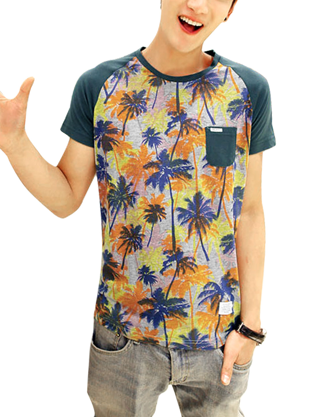 Men Chic Short Raglan Sleeve Coconut Tree Pattern T-Shirt Dark Green M