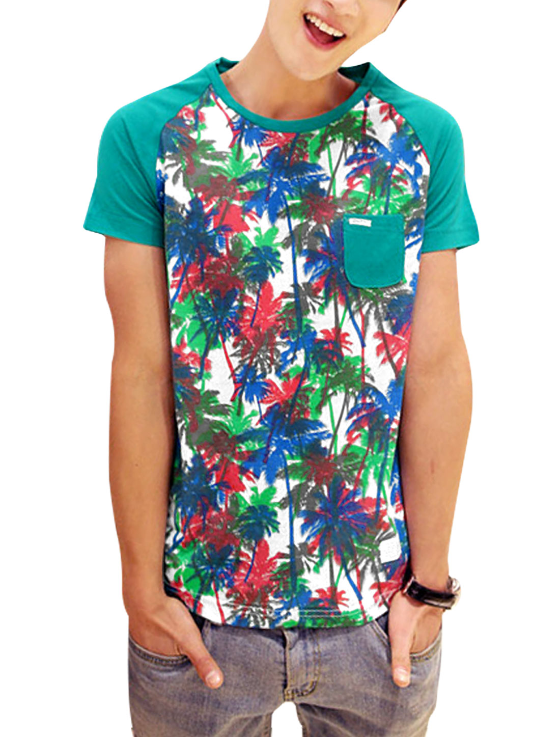 Men Chic Round Neck Coconut Tree Pattern Patchwork Tee Turquoise M
