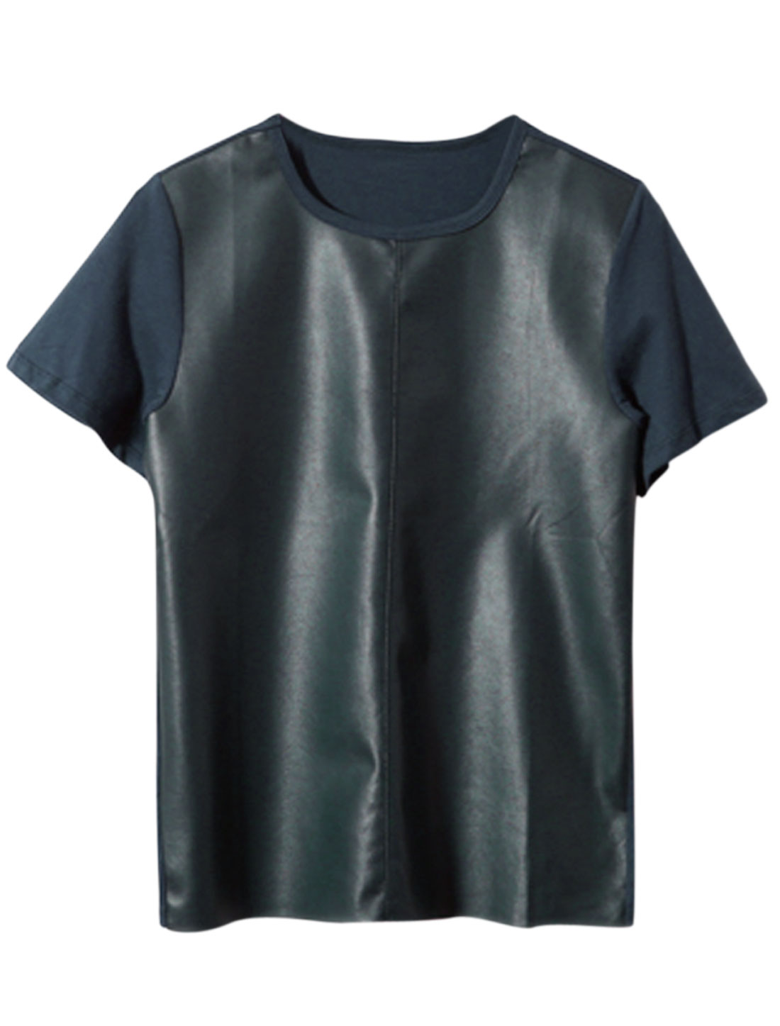 Men's Short Sleeve Round Neck Faux Leather Panel Casual T-Shirt Navy Blue S