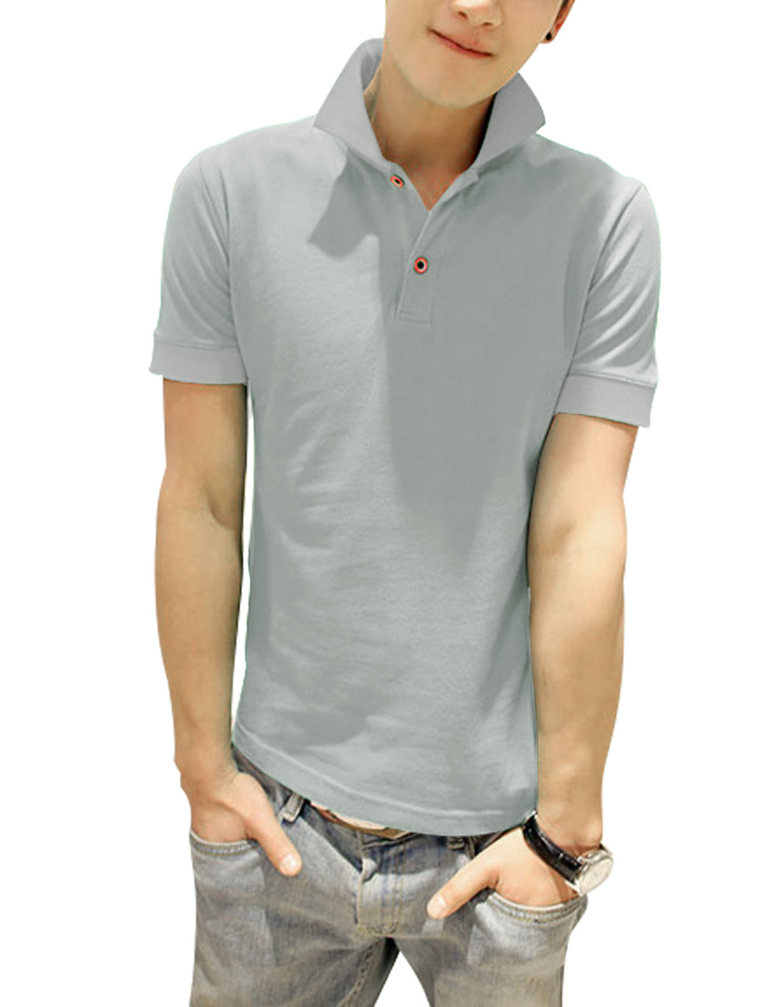 Men Short Sleeve Two Button Closure Stylish Polo Shirt Light Gray S