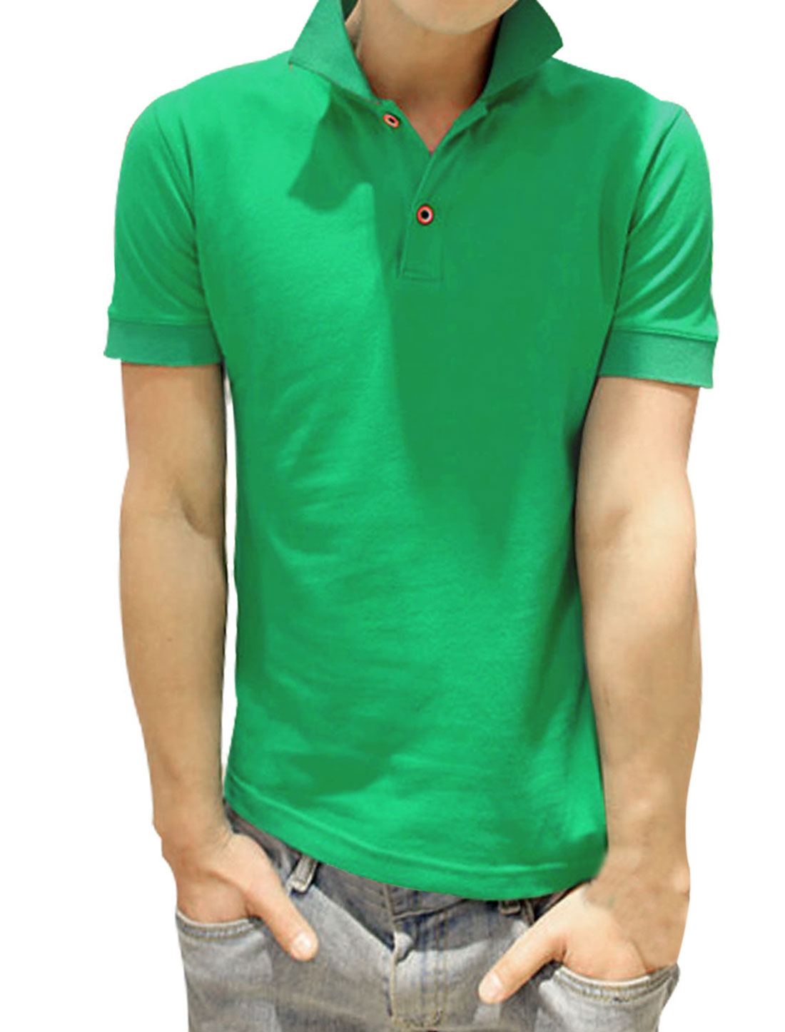 Men Slipover Point Collar Two Button Closure Slim Fit Polo Shirt Green S