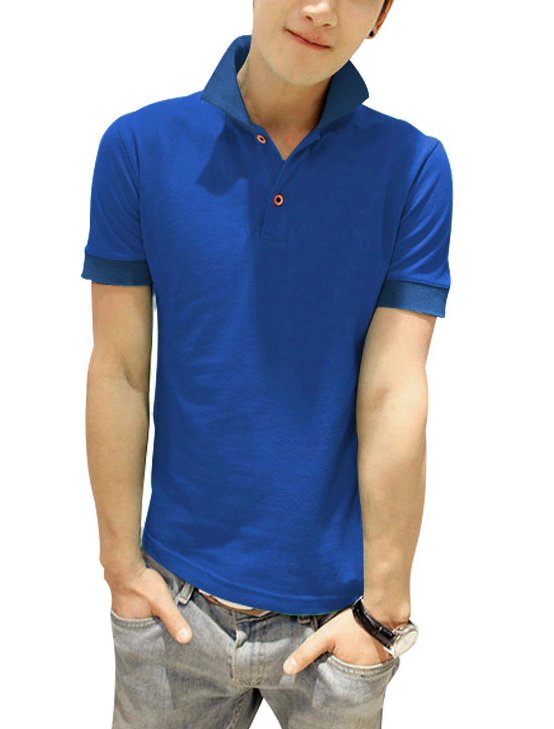 Men Slipover Short Sleeve Point Collar Slim Fit Polo Shirt Royal Blue S