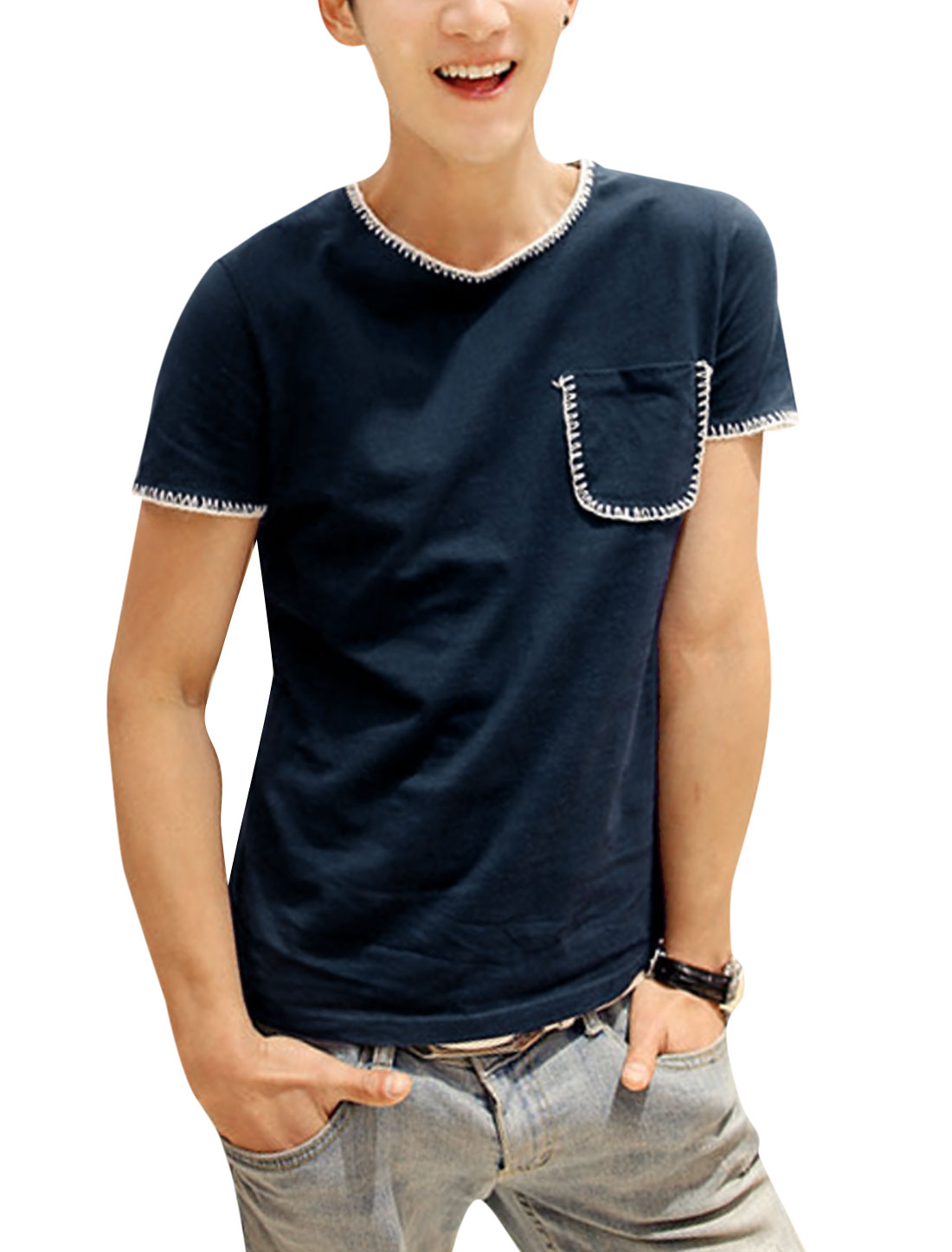 Men Chic NEW Short Sleeve Stitched Detail Pullover T-Shirt Navy Blue S