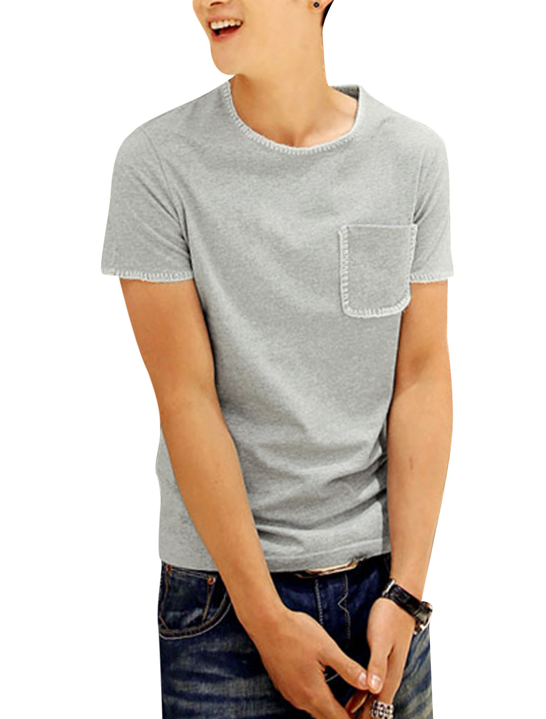 Men Chic One Breast Pocket Stitched Detail T-Shirt Light Gray S