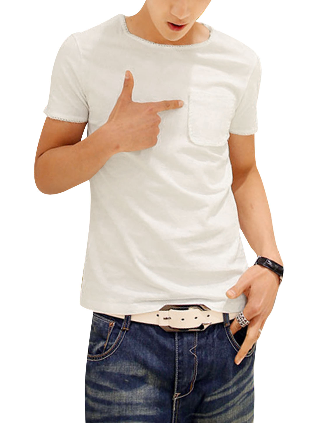 Men Chic Slipover Round Neck Stitched Detail Tee Shirt White S