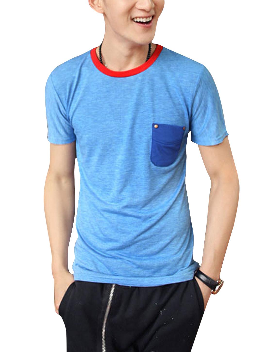 Men Short Sleeve Single Chest Pocket Tee Top Light Blue S