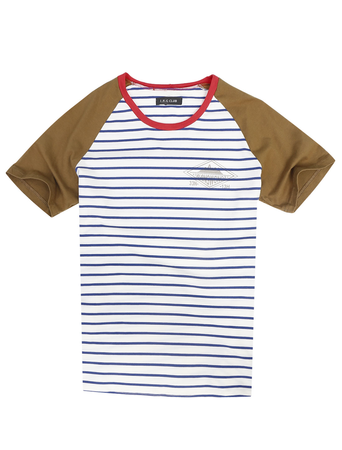Men Round Neck Short Raglan Sleeve Bar Striped T-Shirt White Camel S