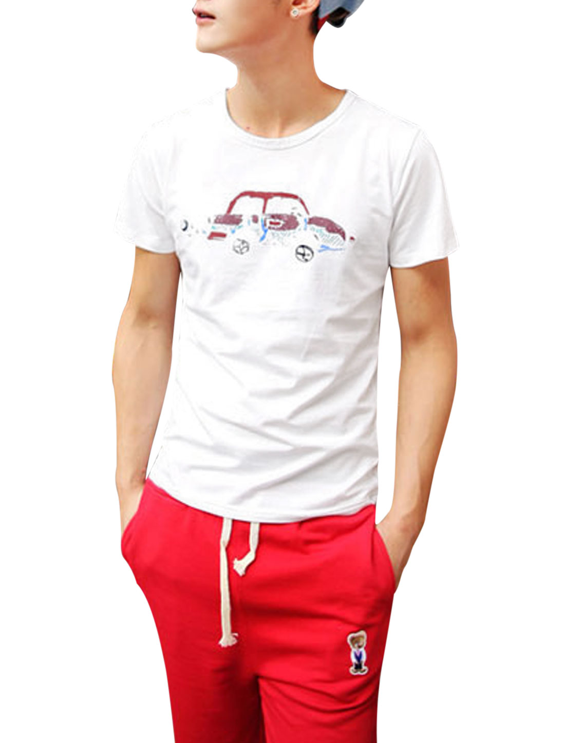 Men Short Sleeve Car Printed Pullover Cozy Fit T-Shirt White S