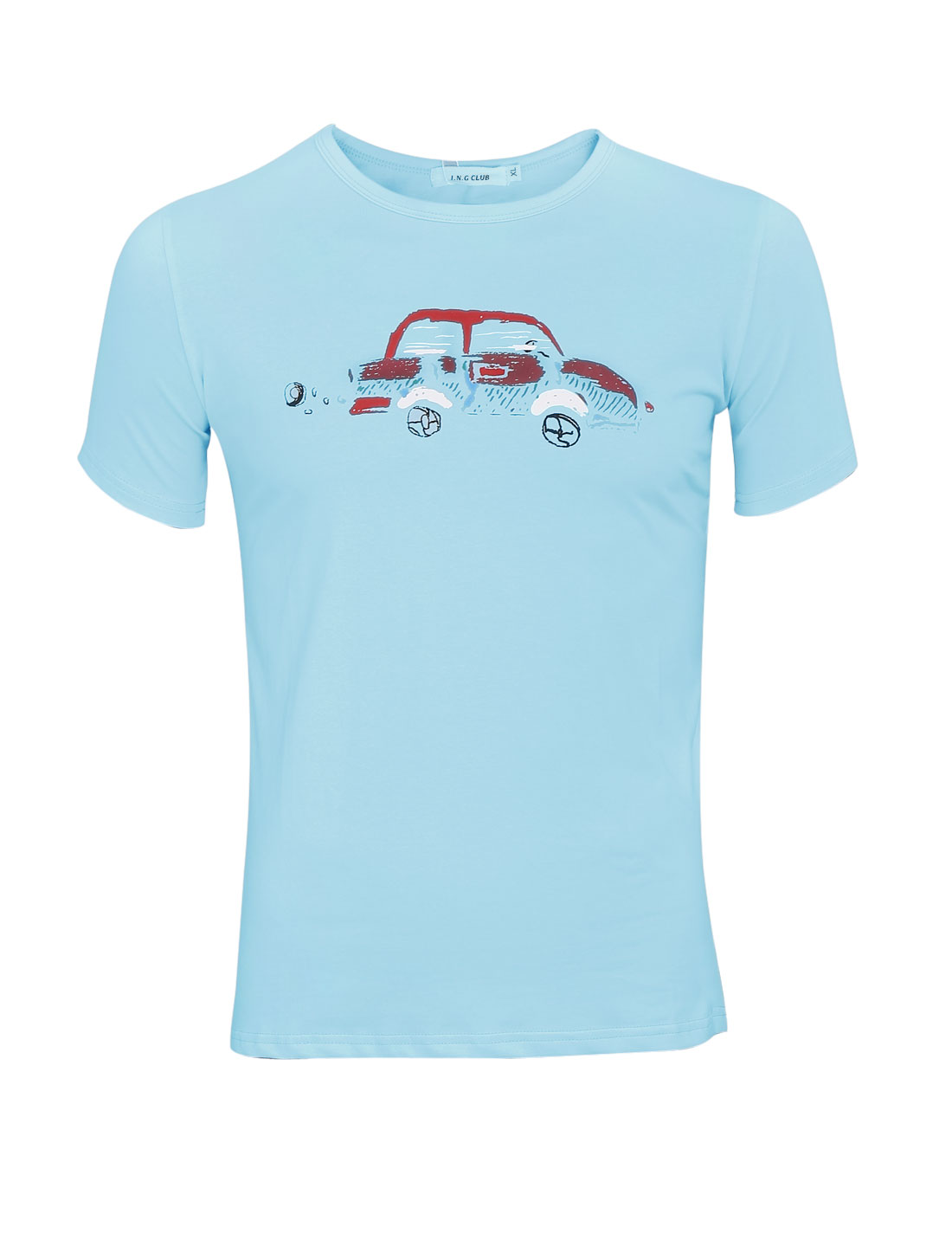 Men Slipover Short Sleeve Car Printed Cozy Fit T-Shirt Baby Blue S