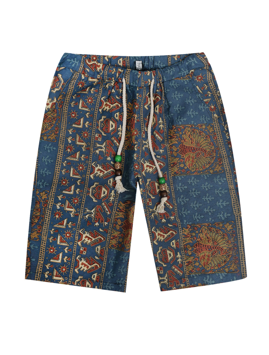 Men Elastic Drawstring Waist Novelty Prints Shorts Beige Navy Blue W30