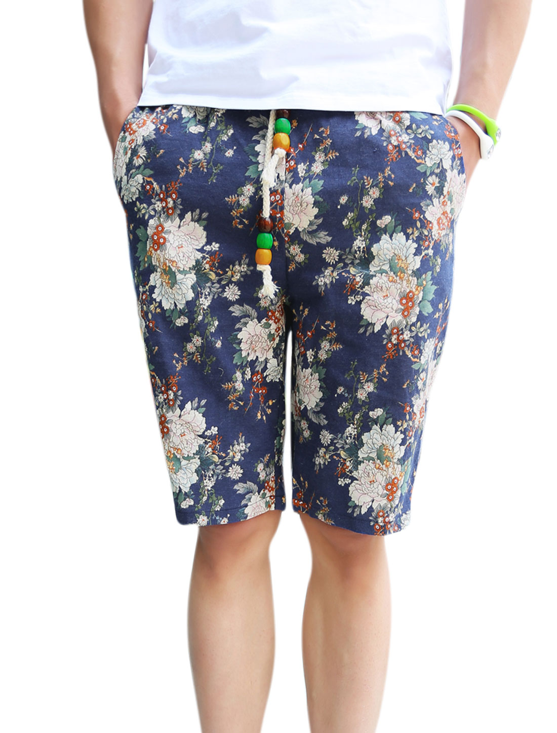 Men Elastic Drawcord Waist Pockets Design Floral Prints Shorts Multicolor W30