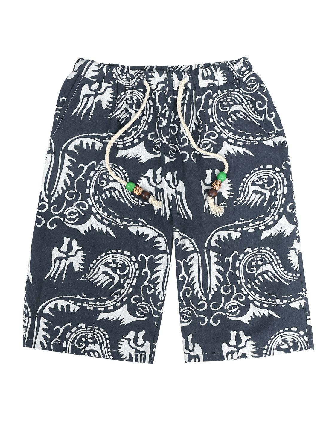 Men Summer Stretchy Drawcord Waist Novelty Prints Shorts White Navy Blue W30