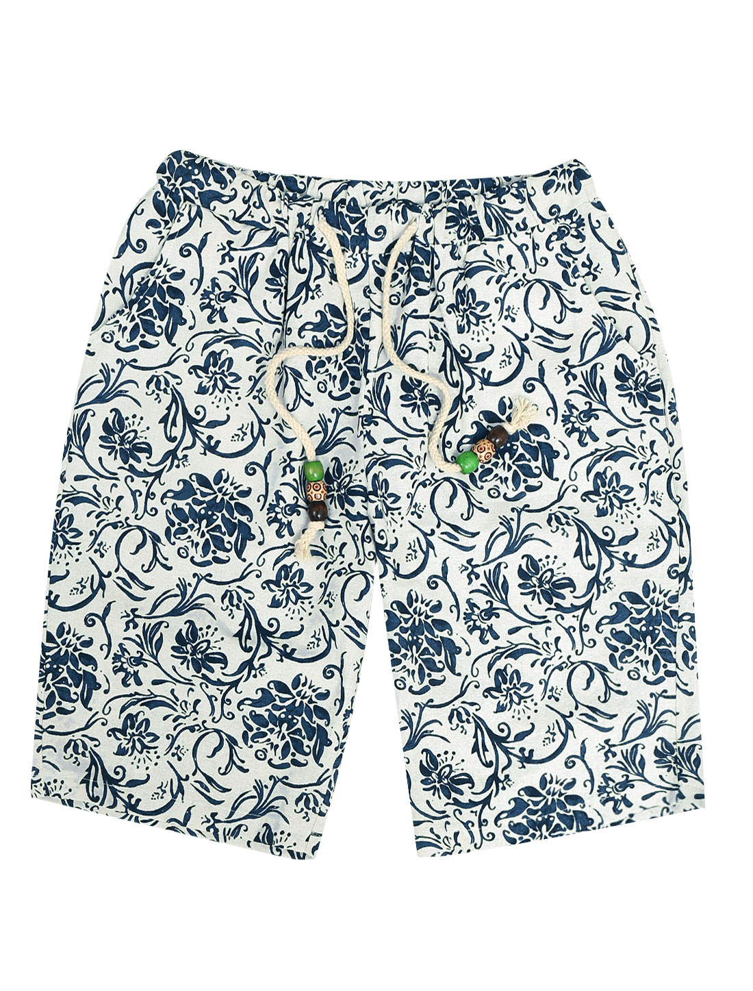 Men Loose Fit Elastic Drawstring Waist Floral Prints Shorts White Blue W30