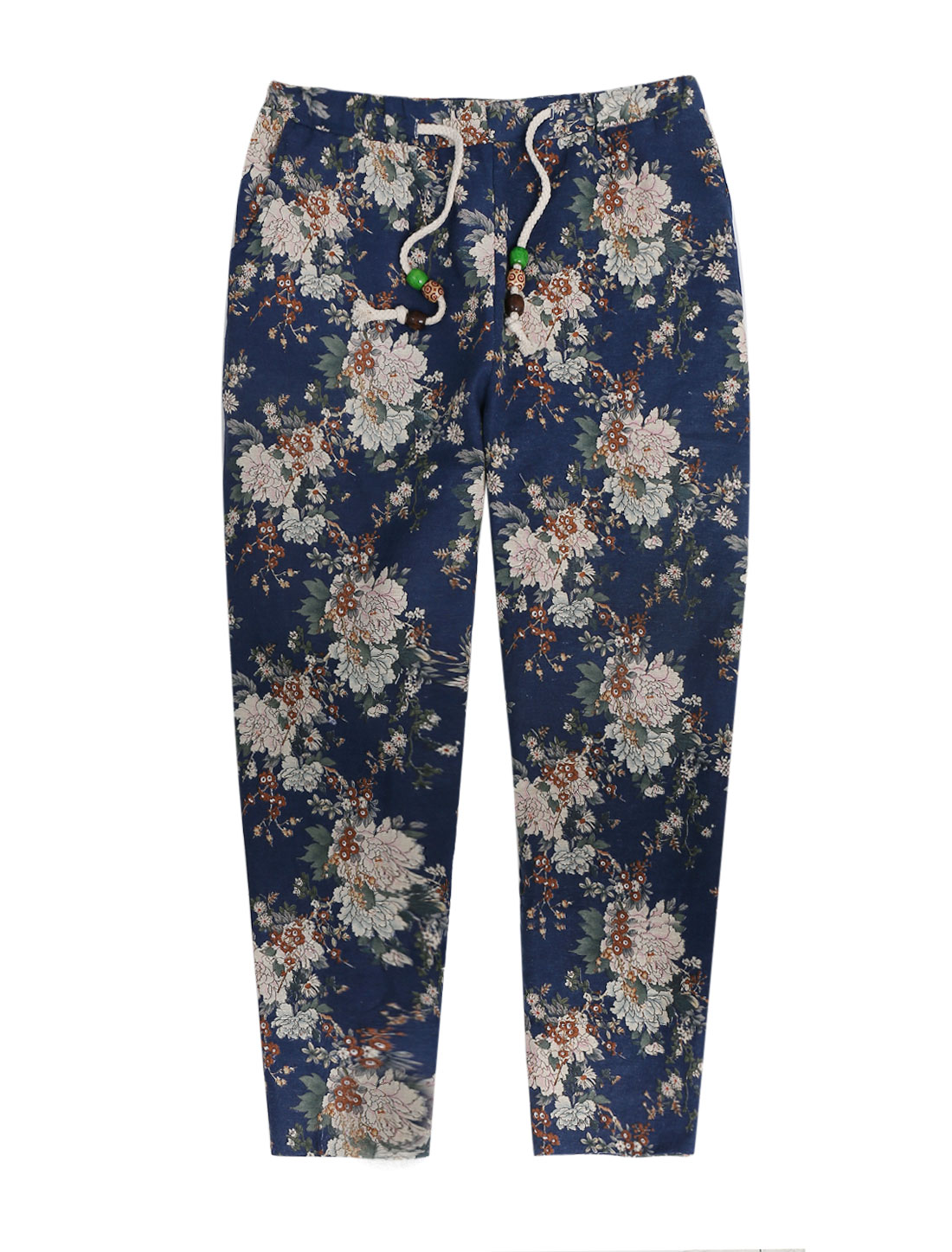 Men Stretchy Drawstring Waist Floral Prints Casual Cropped Pants Dark Blue W30