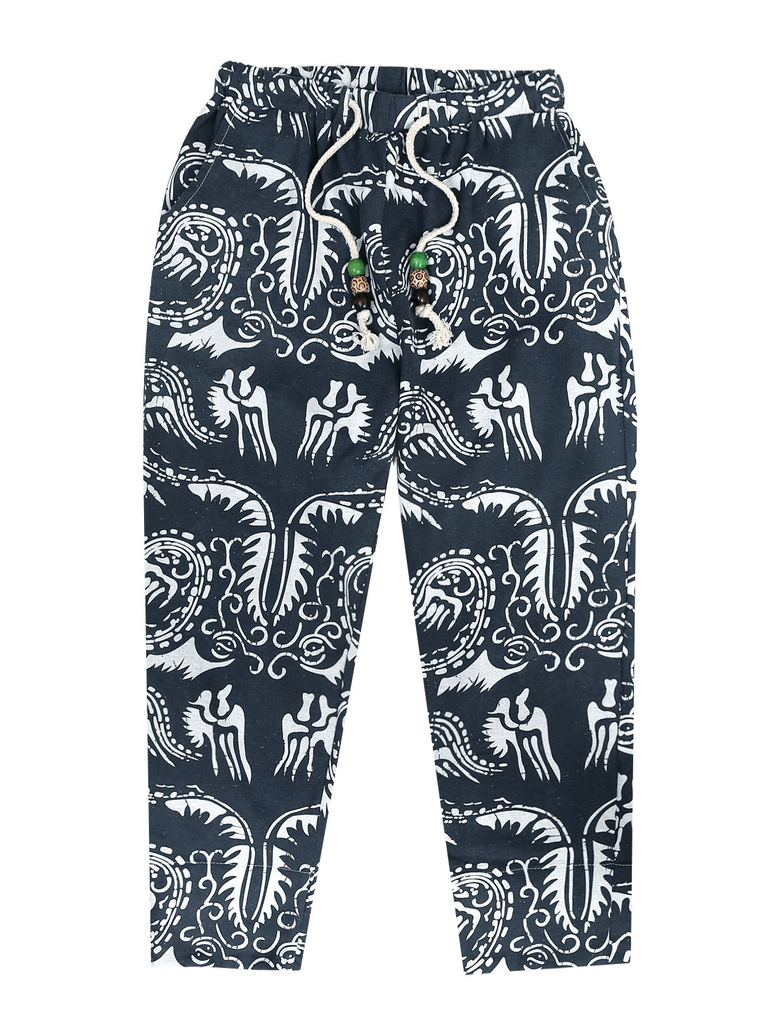 Men Stretchy Drawstring Waist Novelty Prints Cropped Pants White Navy Blue W30