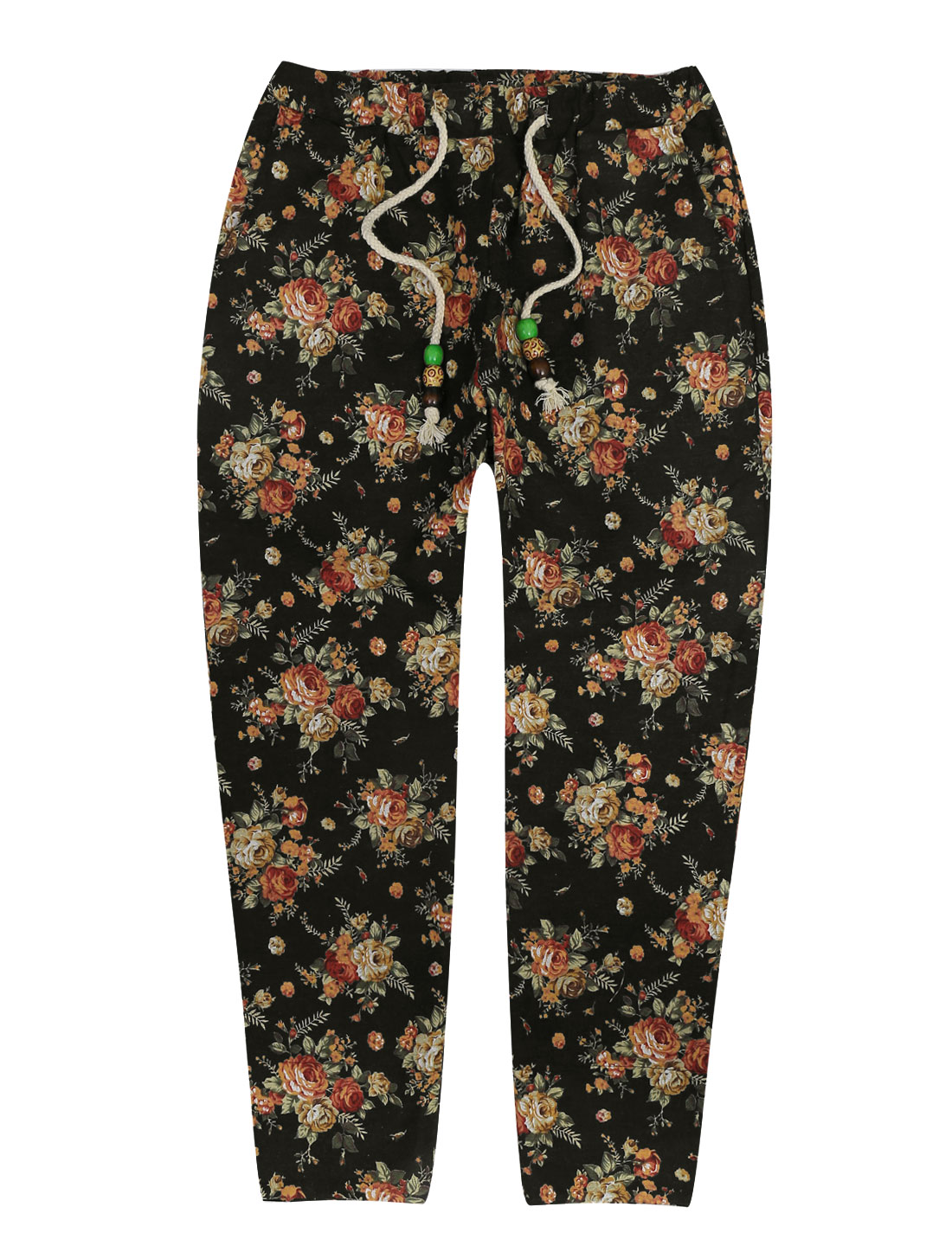 Men Elastic Waist Floral Prints Pockets Style Cropped Pants Multicolor W30