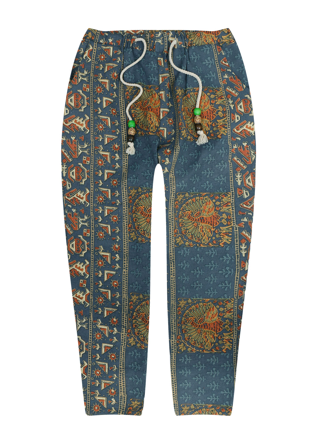 Men Stylish Elastic Drawstring Waist Novelty Prints Cropped Pants Multicolor W30