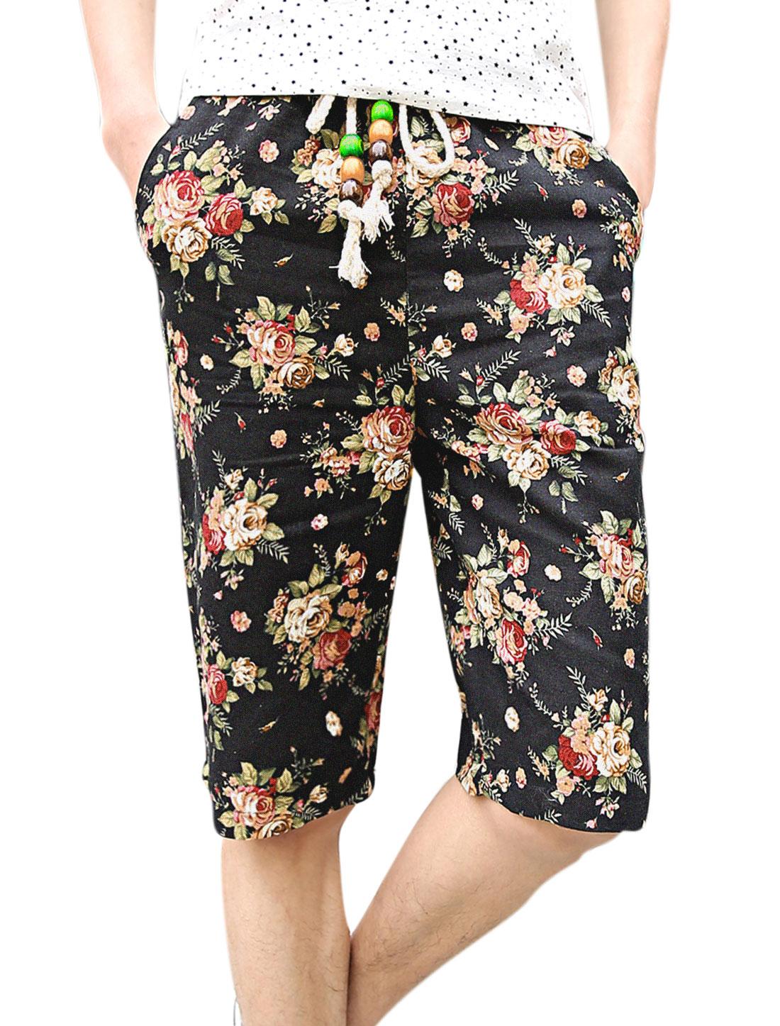 Men Drawstring Waist One Pocket Back Floral Prints Shorts Multicolor W30
