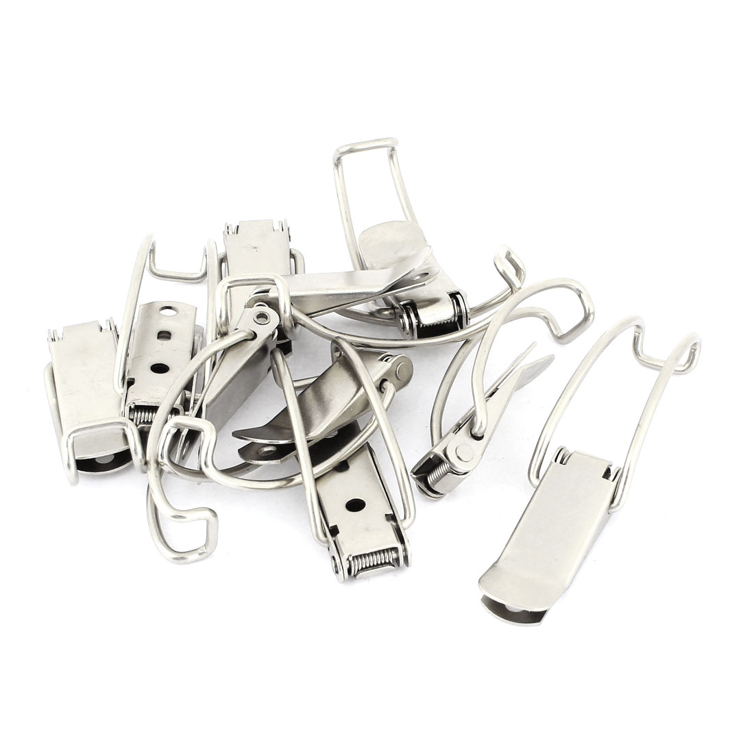 Box Chest Case Spring Loaded Silver Tone Draw Toggle Latch 10 Set