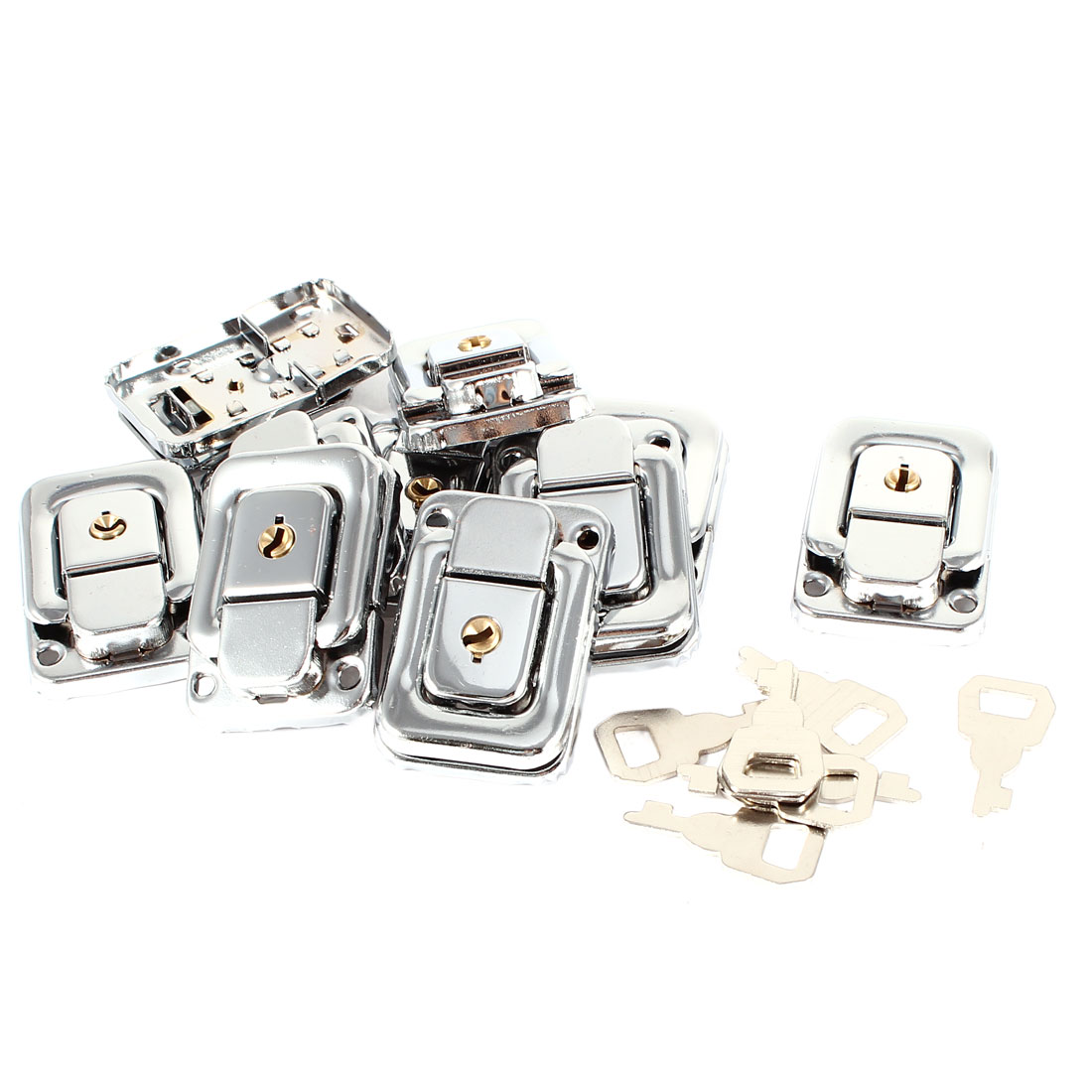 10 Pcs Silver Tone Spring Loaded Case Boxes Chest Toggle Catch Latch w Keys