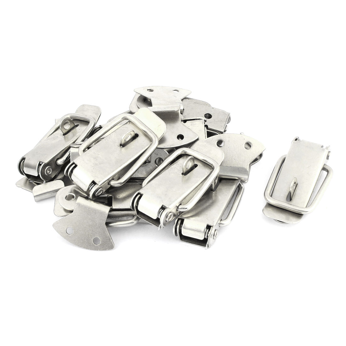 10 Sets Stainless Steel Spring Loaded Straight Loop Latch Catches 8.9cm