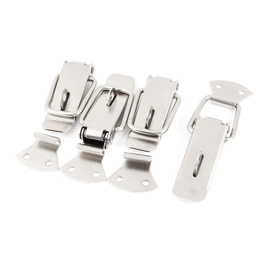 "Cabinet Security Spring Loaded Stainless Steel Toggle Latch Hasp 4.1"" 4 Sets"