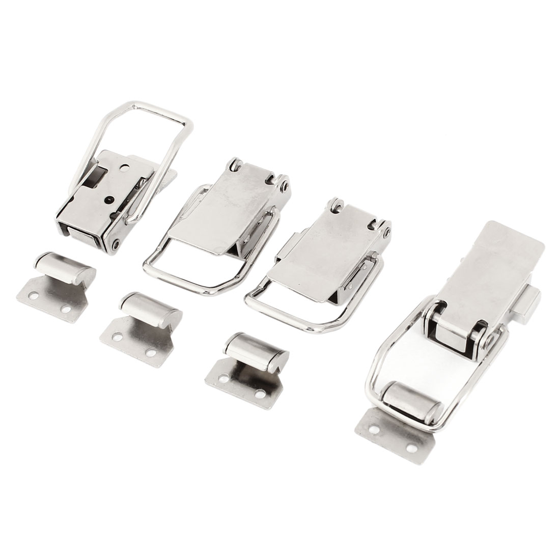 Push Open Design Spring Loaded Silver Tone Lock Toggle Latch 4 Sets