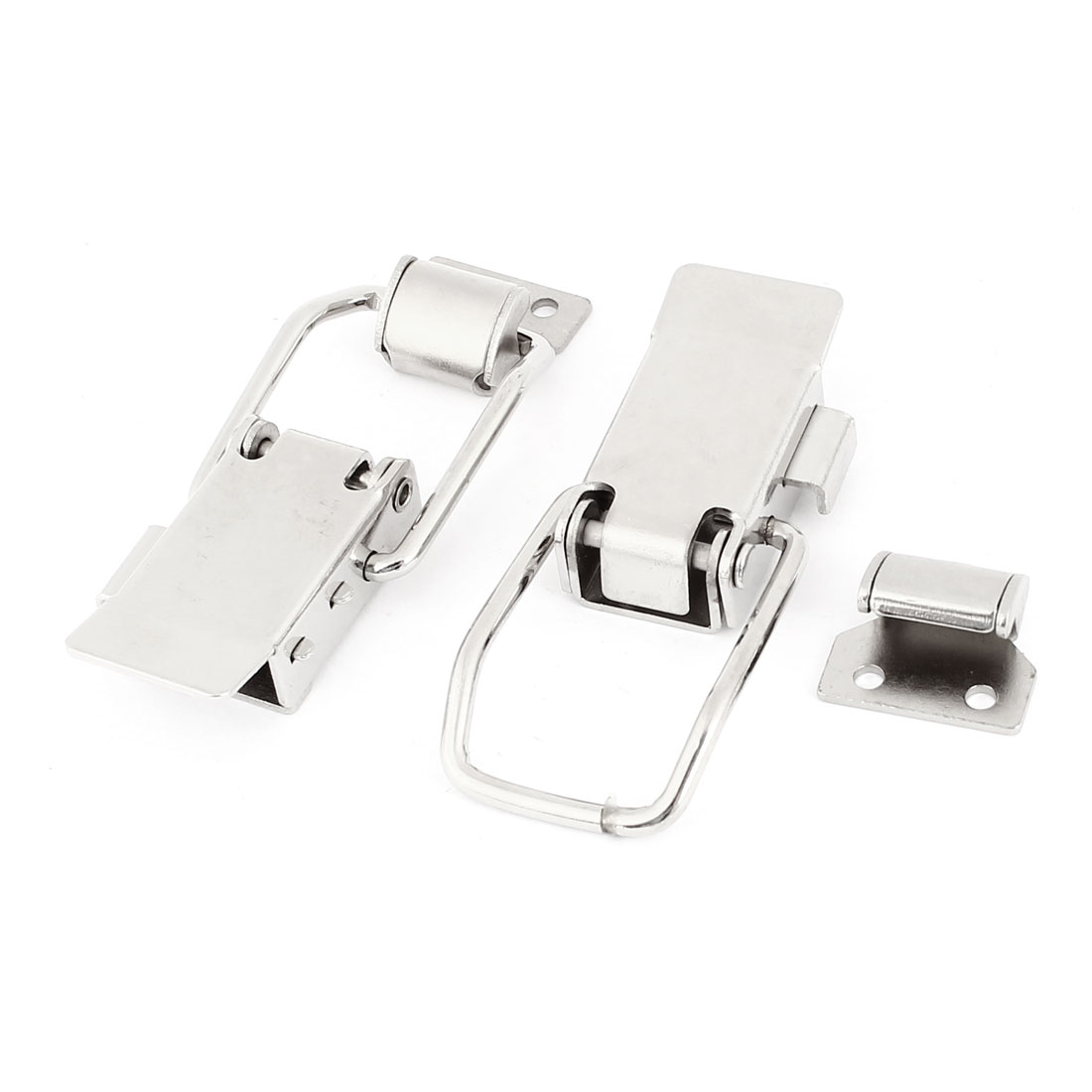 2 Sets Push Open Spring Loaded Lock Silver Tone Toggle Latch Catch